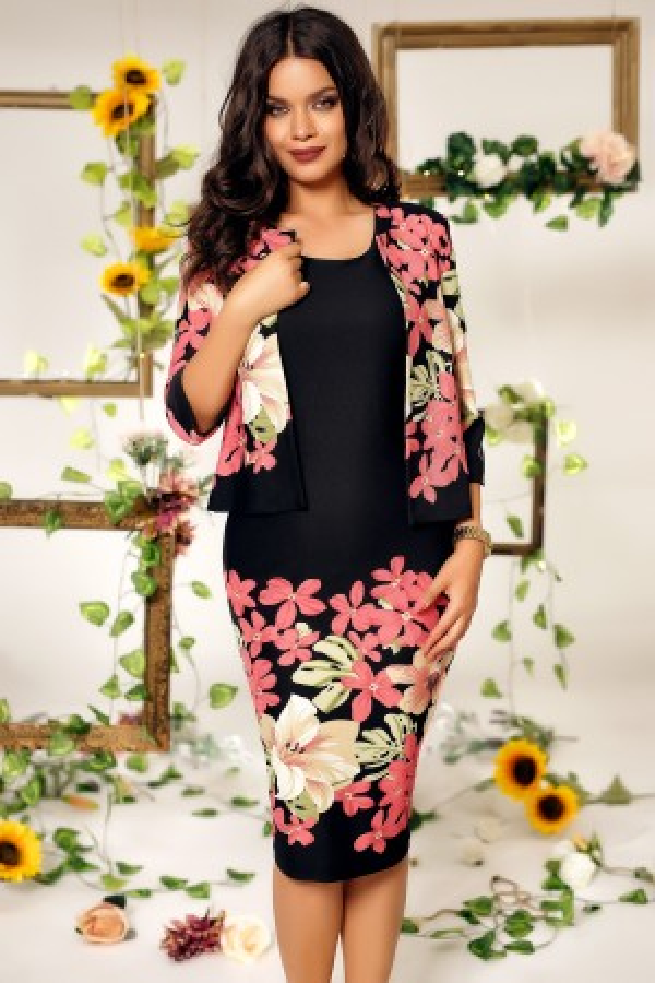 Rochie de seara cu bolero Ema negru roz