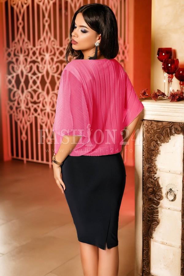 Rochie Ailyn roz cu maneci scurte