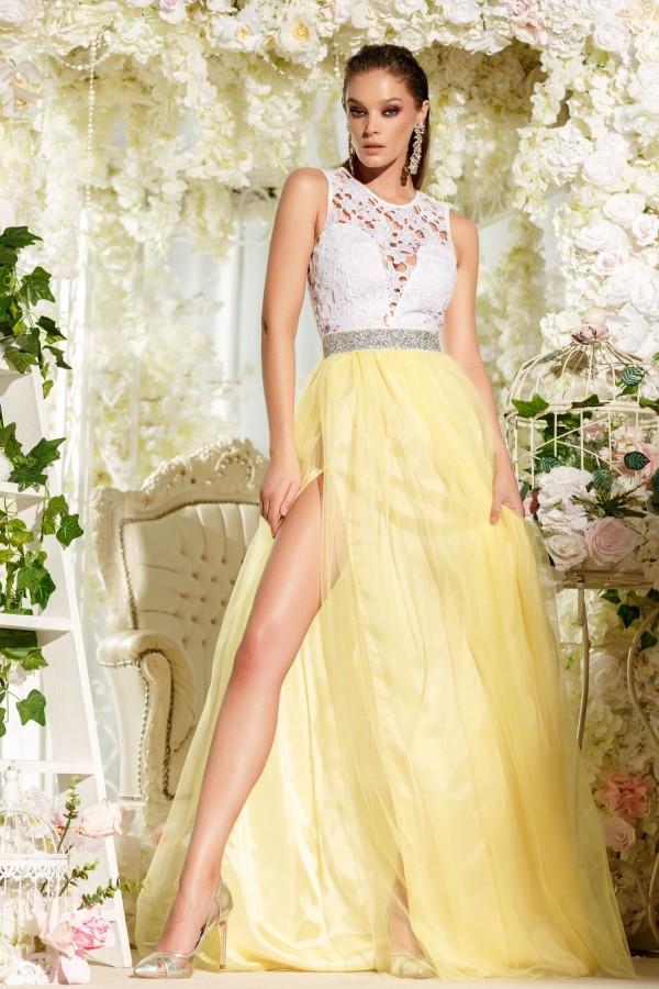Rochie lunga Daiana galben alb