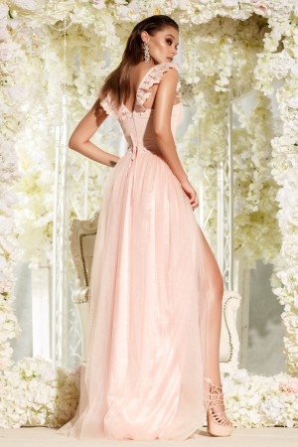 Rochie lunga Madeline roz