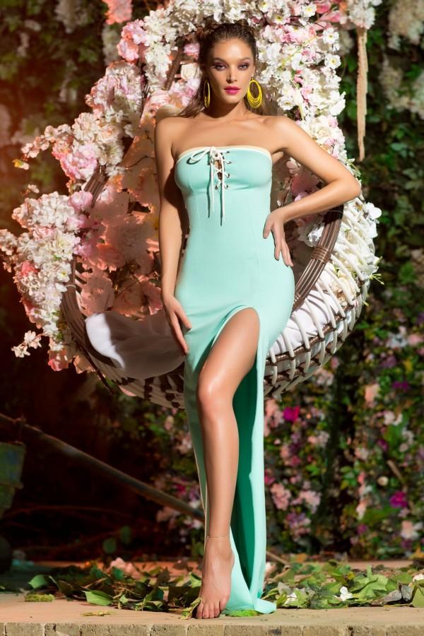 Rochie lunga Erica turcoaz