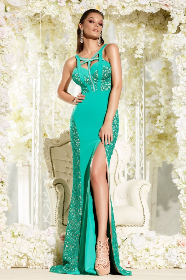 Rochie lunga Sophie verde