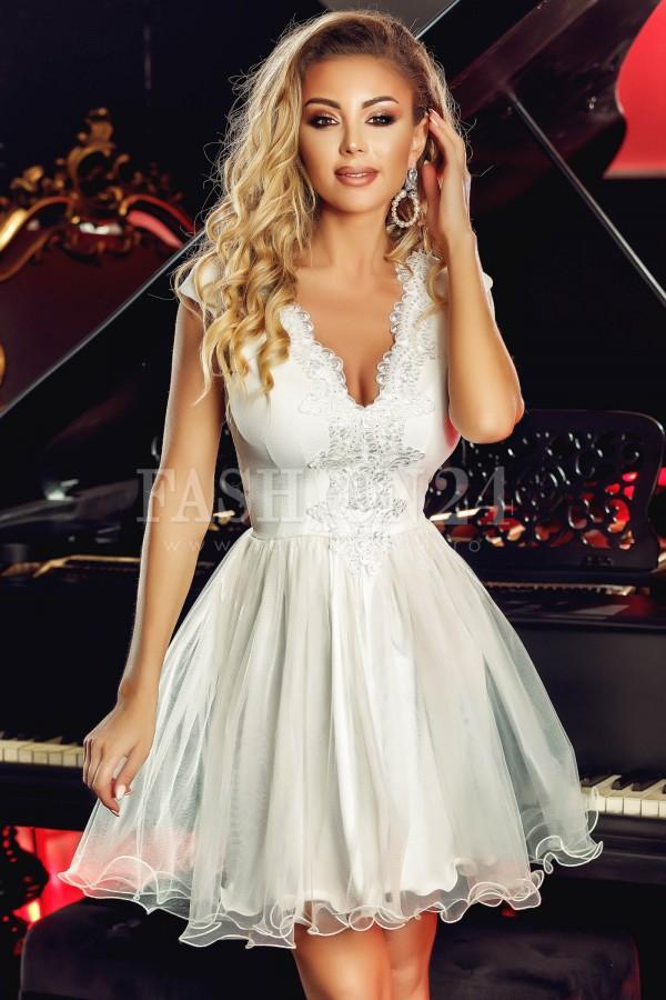Magazin Online Haine - Rochie de seara White Flowers -Fashion-4u.Eu