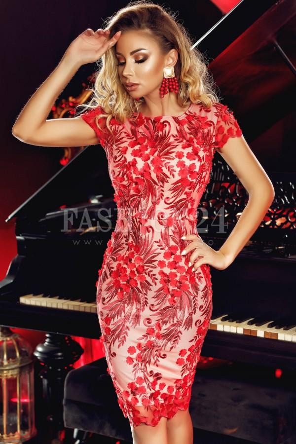 Rochie de seara 3D Red Flowers