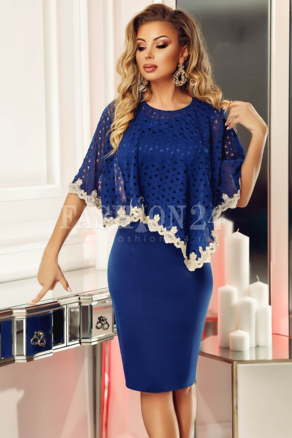 Magazin Online Haine - Rochie bleumarin de seara tip fluture -Fashion-4u.Eu