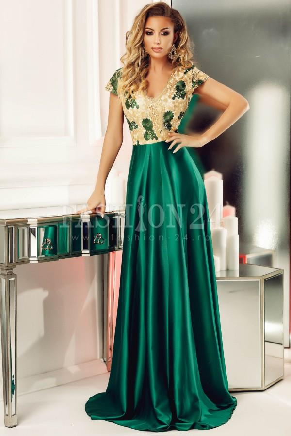 Rochie green smarald de seara cu bustul din dantela
