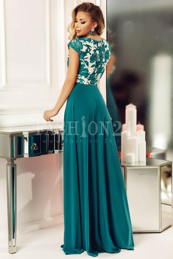 Rochie verde lunga cu bustul floral