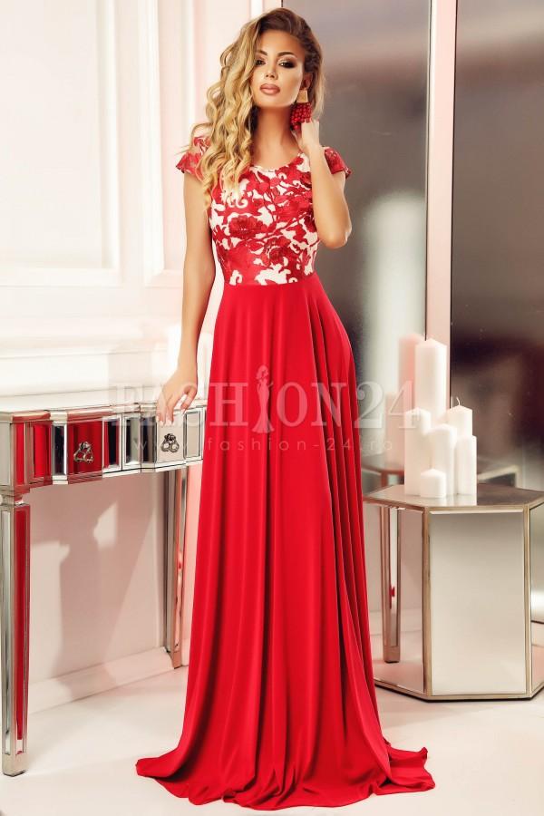 Rochie rosie lunga cu bustul floral