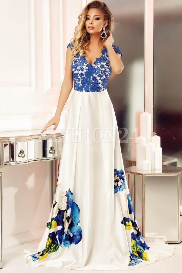 Rochie bleumarin lunga cu imprimeu floral