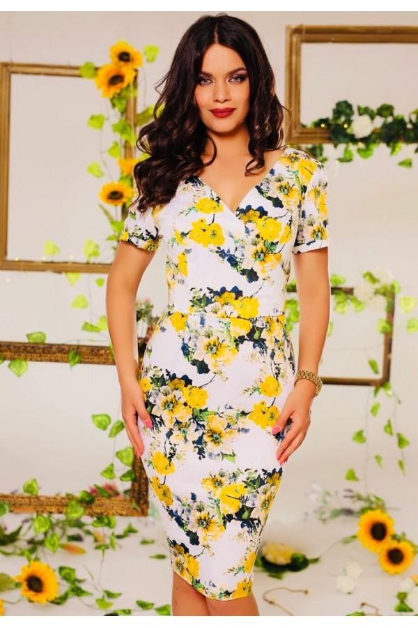 Rochie Elora cu imprimeuri florale galbene