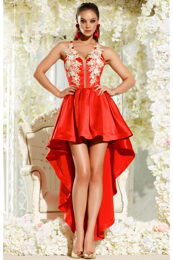 Rochie de seara Irene rosie cu trena