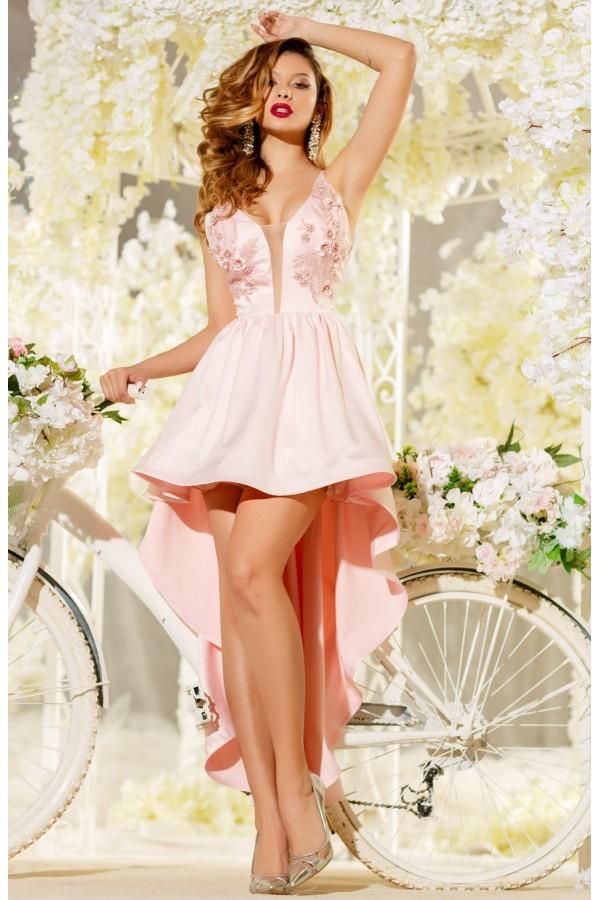 Rochie de seara Irene roz cu trena