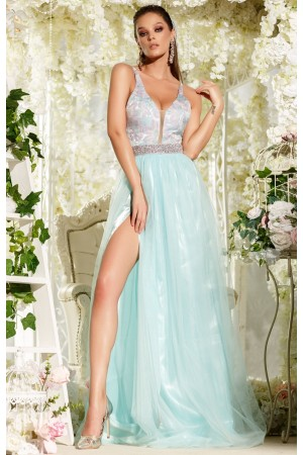 Rochie lunga Alessia bleu