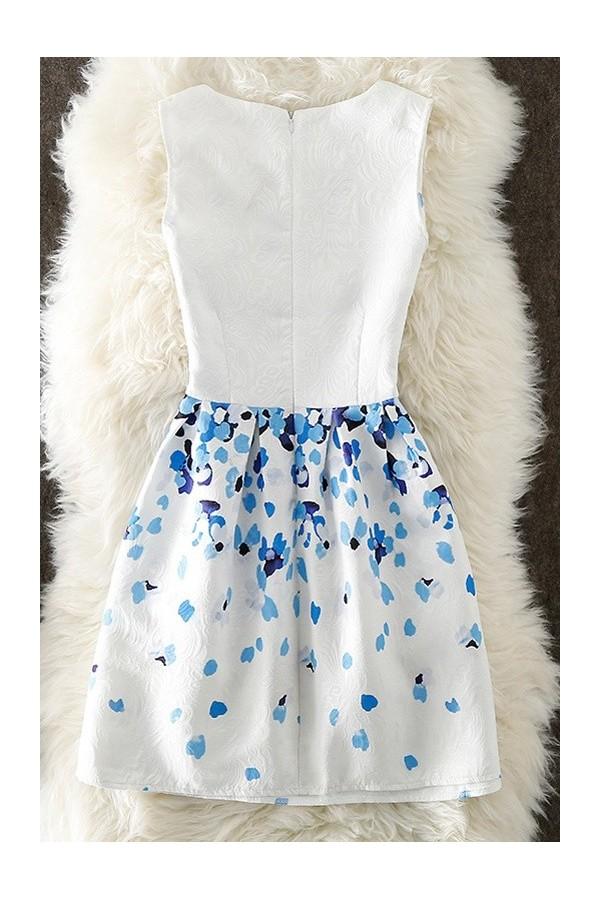 Rochie cu imprimeuri Emmy alb bleu