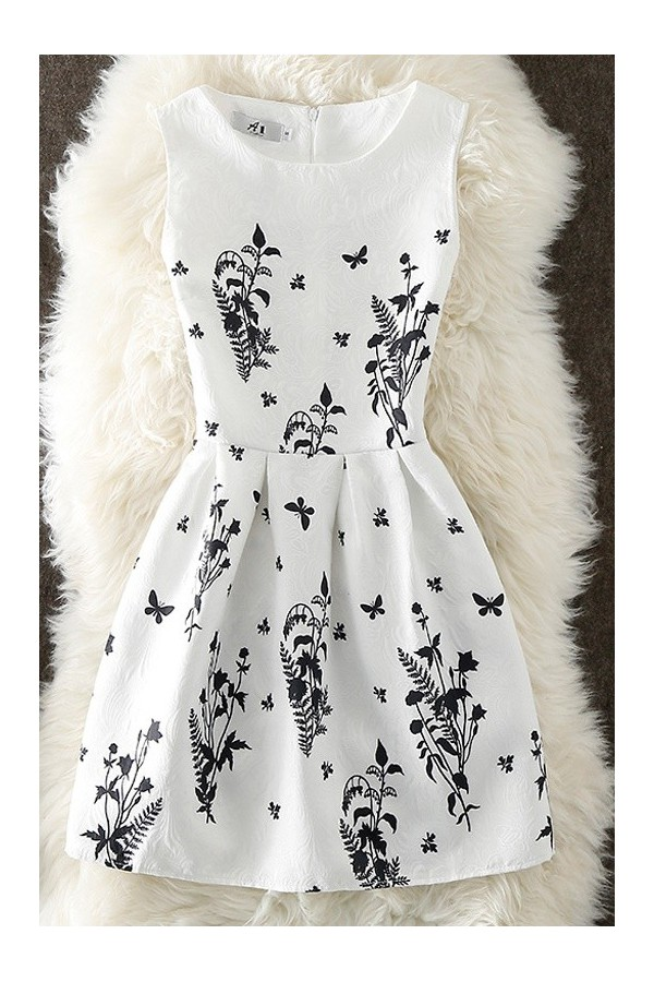 Rochie cu imprimeuri Jamie alb negru