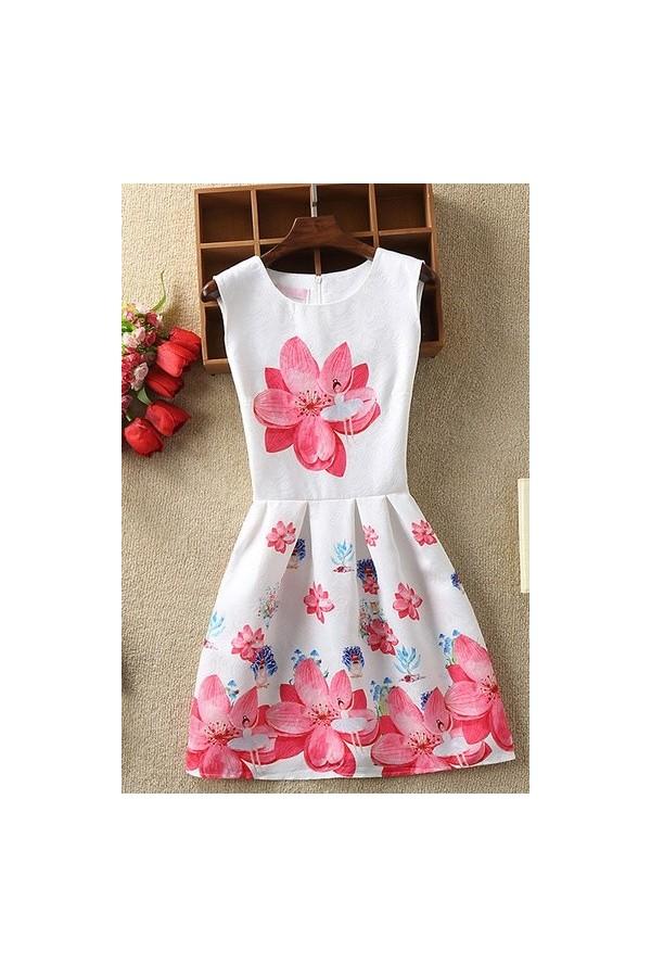 Rochie cu imprimeuri Alena alb roz
