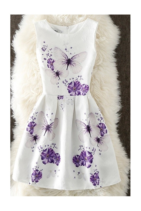 Rochie cu imprimeuri violet butterfly