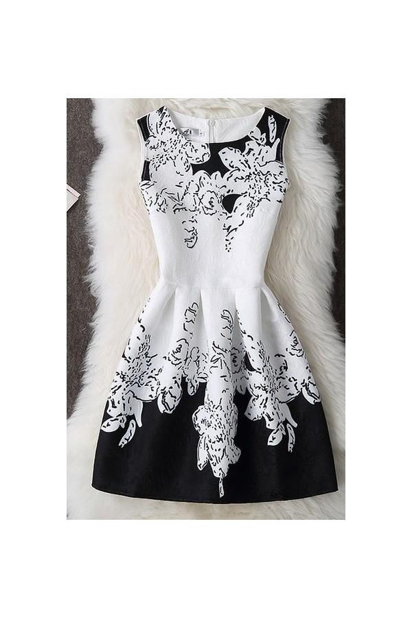 Rochie cu imprimeuri Elena alb negru