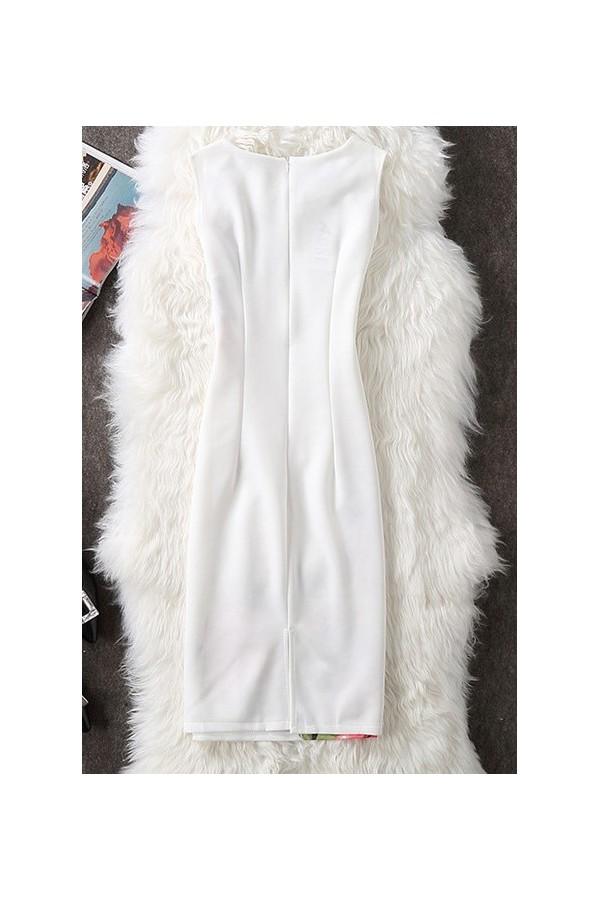 Rochie cu imprimeuri Sandra alba