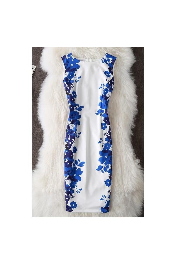 Rochie cu imprimeuri Aida alb albastru