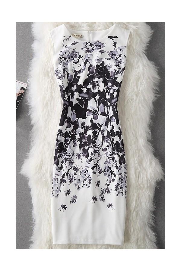 Rochie cu imprimeuri Selena alb negru
