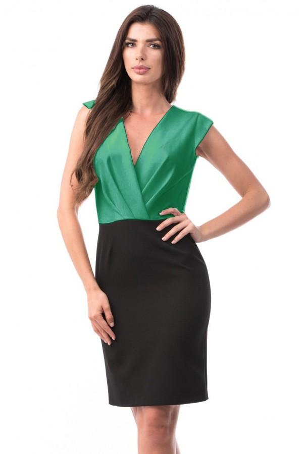 Rochie de zi Juliette negru verde