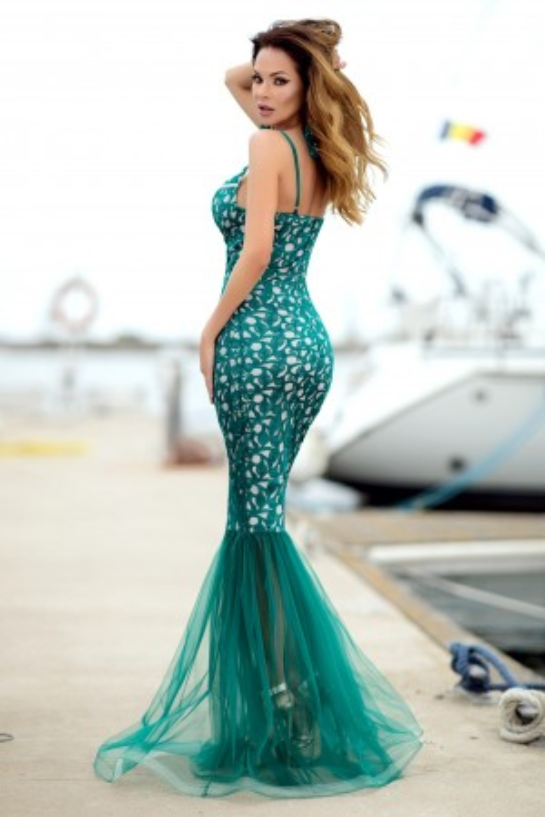 Rochie lunga croi sirena Frances verde