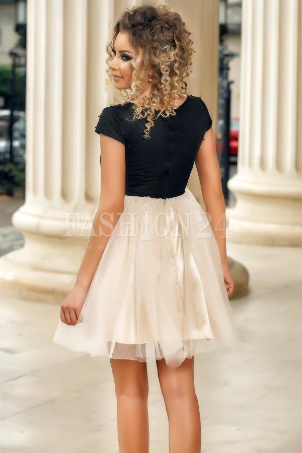 Rochie de seara roz negru Romina cu tul si broderie