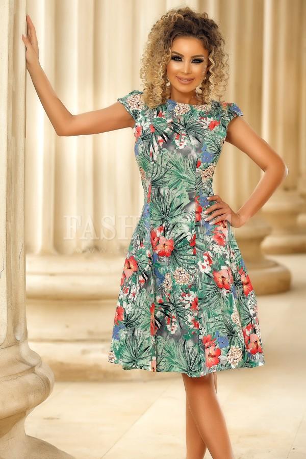 Rochie verde Anais cu imprimeuri