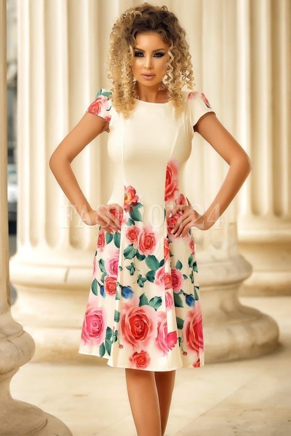 Rochie de vara bej in clos cu imprimeu floral