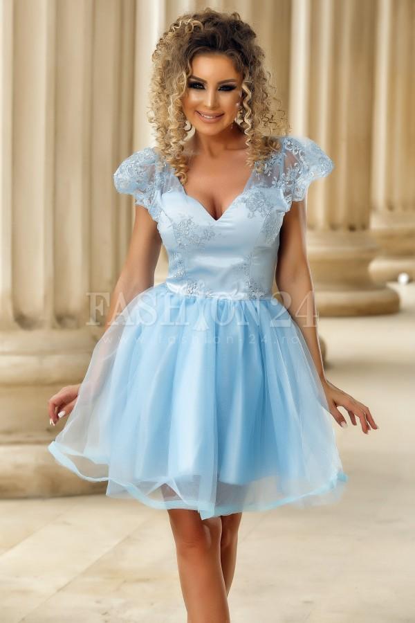 Rochie baby doll azure cu dantela