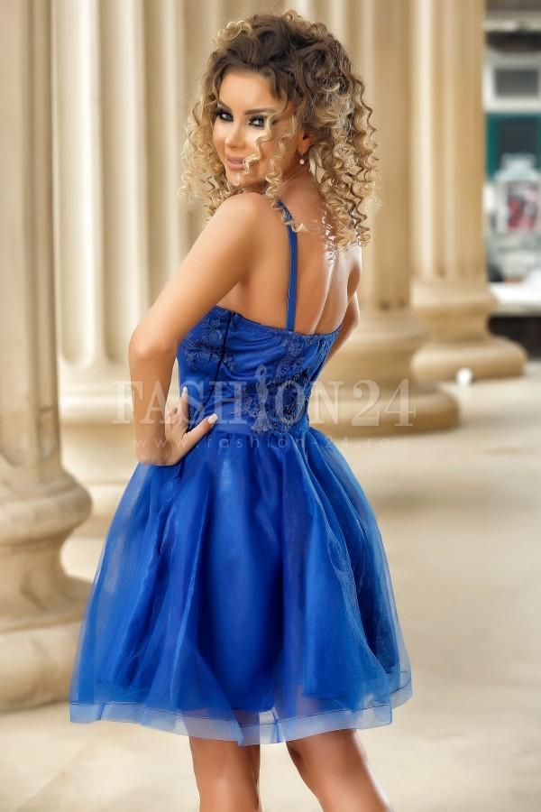 Rochie baby doll albastra cu bretele subtiri