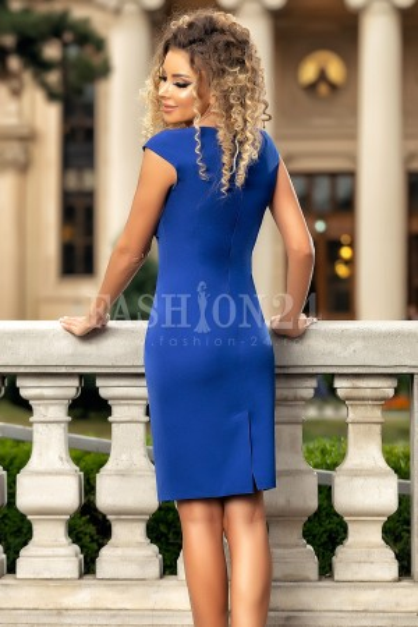 Rochie midi albastra accesorizata