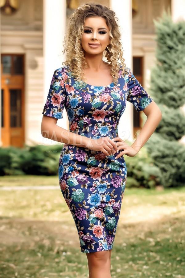 Rochie albastra de vara cu imprimeuri