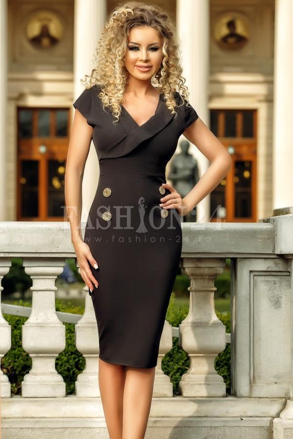 Rochie de seara neagra cu design deosebit
