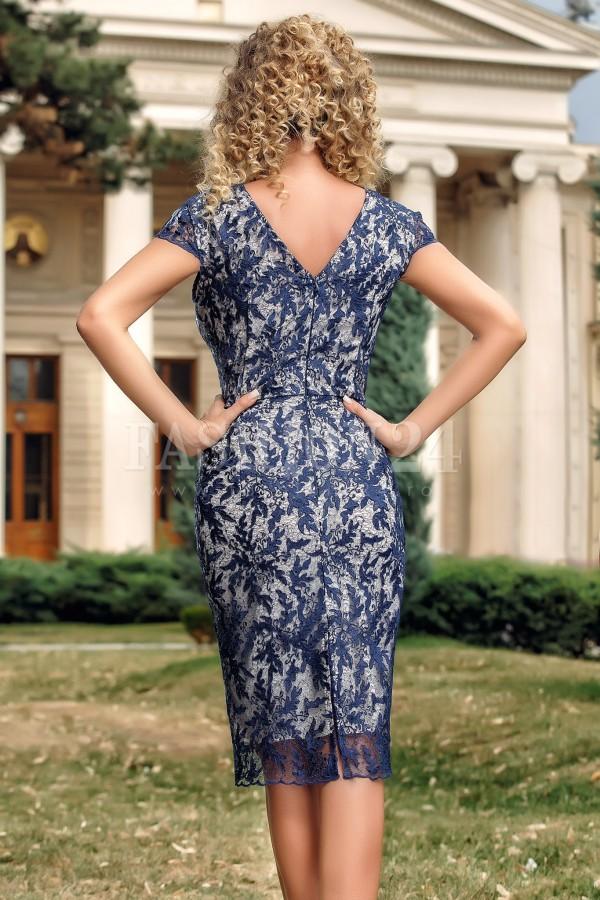 Rochie midi bleumarin cu dantela aplicata