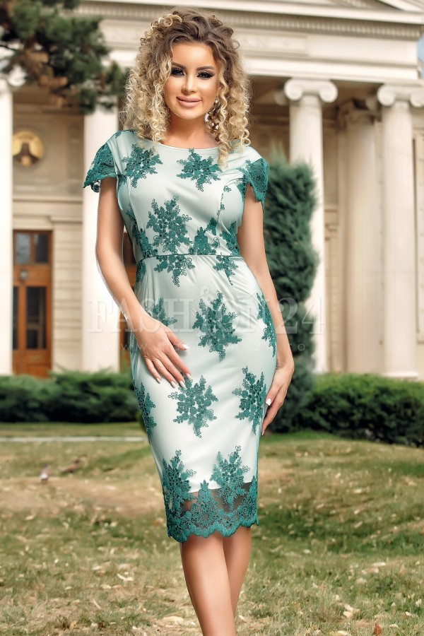 Rochie midi verde cu dantela aplicata