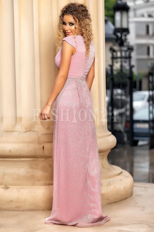 Rochie de seara roz cu crapatura pe picior