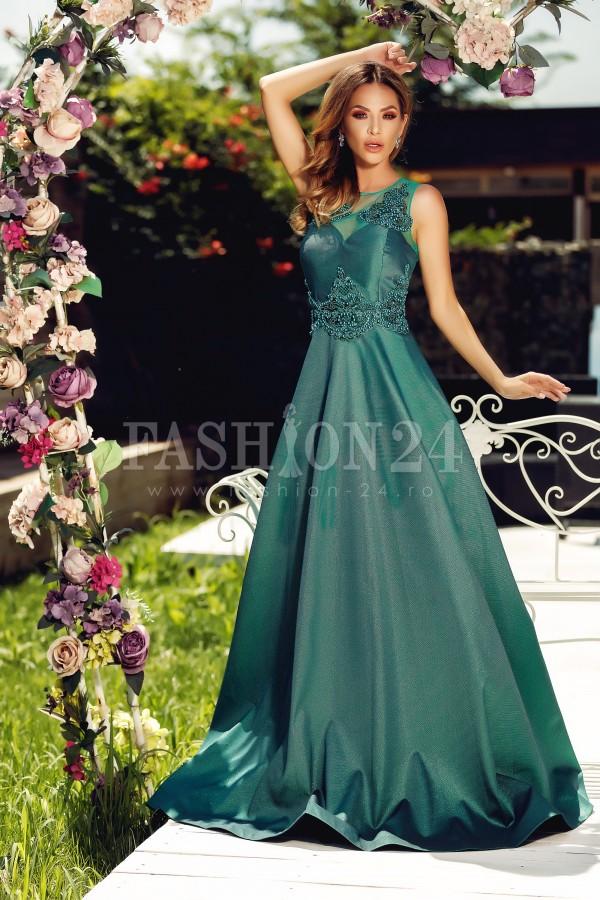 Rochie de seara lunga verde Isadora