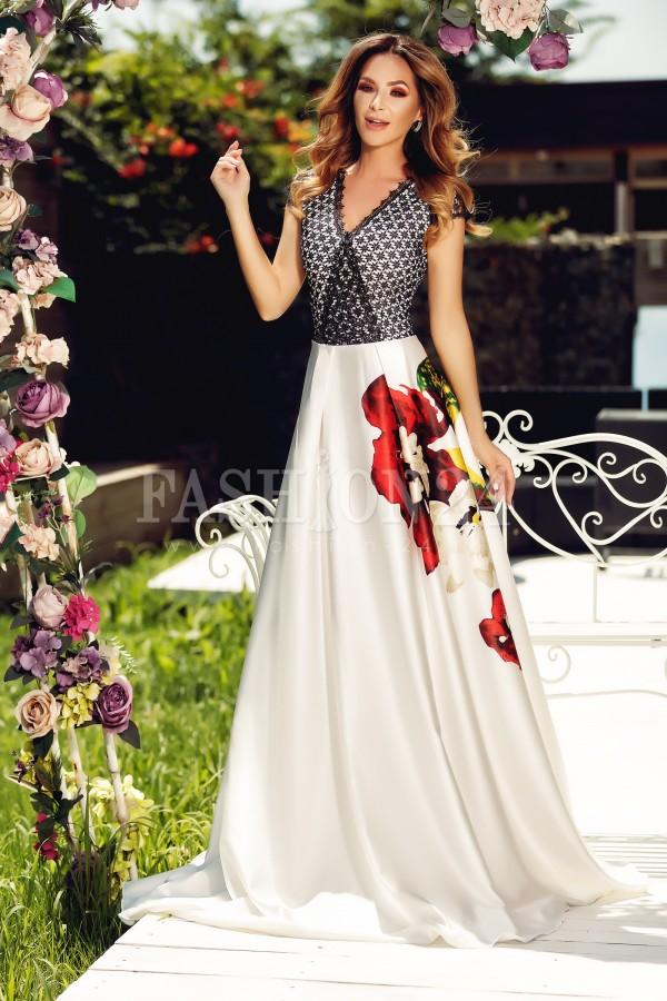 Rochie neagra lunga cu imprimeu floral