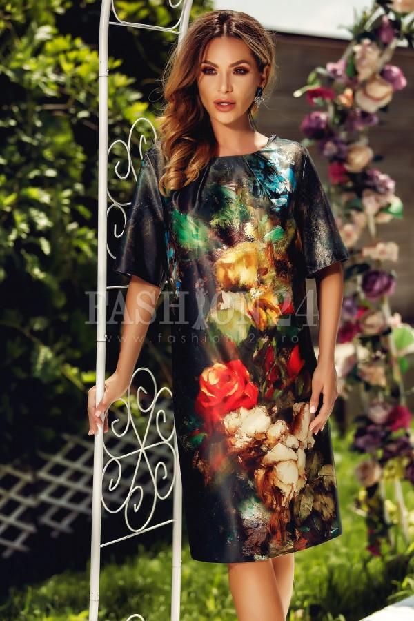 Rochie Eliss neagra cu flori imprimate