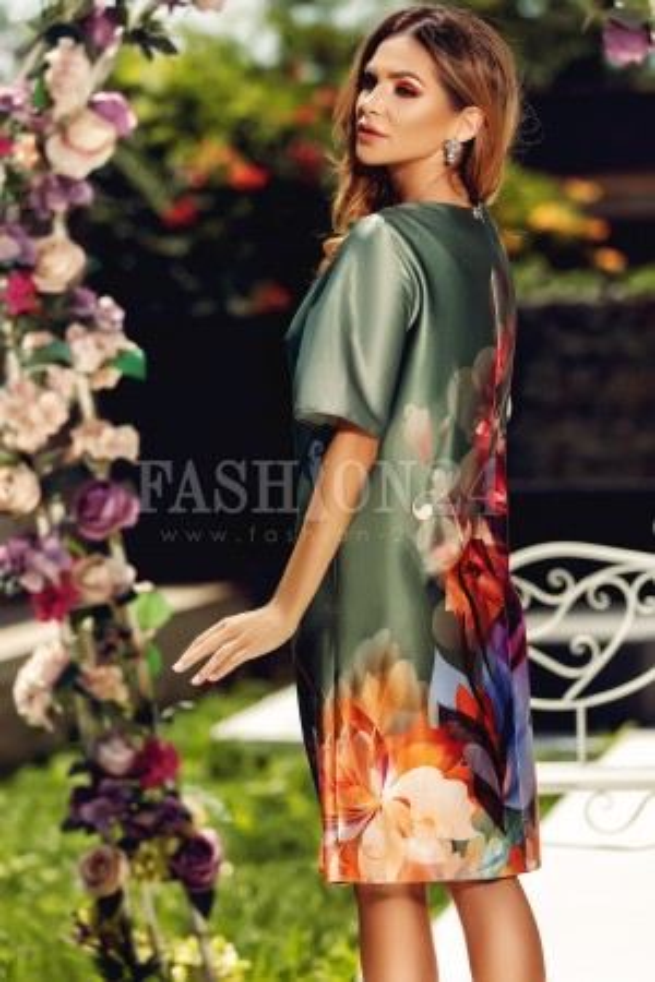 Rochie Eliss gri cu flori imprimate