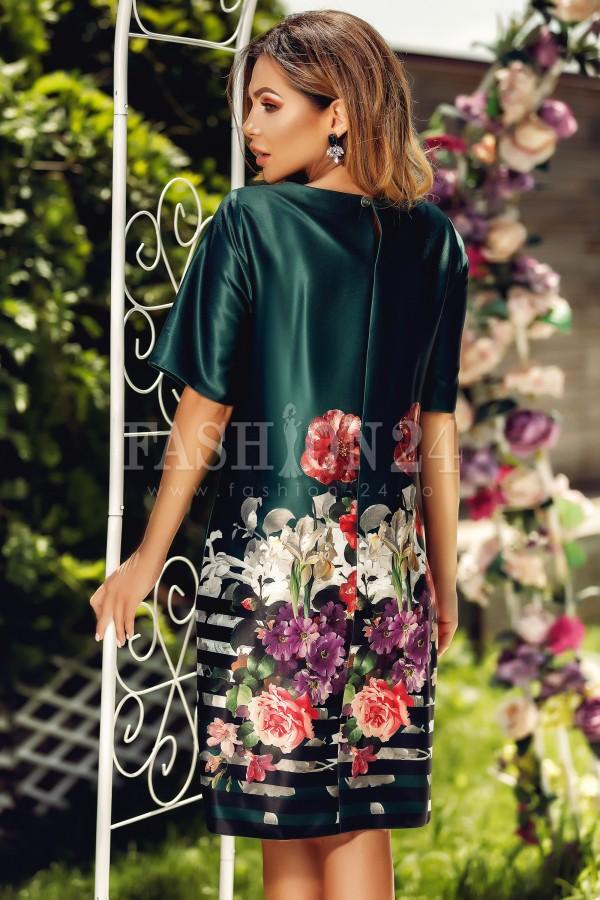 Rochie Eliss verde cu flori imprimate