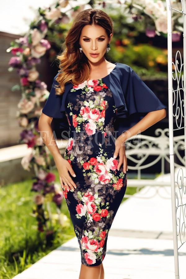 Rochie cu imprimeuri florale si bolero