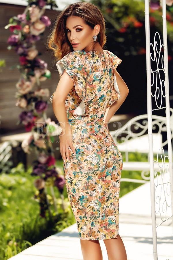 Rochie Amanda cu imprimeuri florale bej