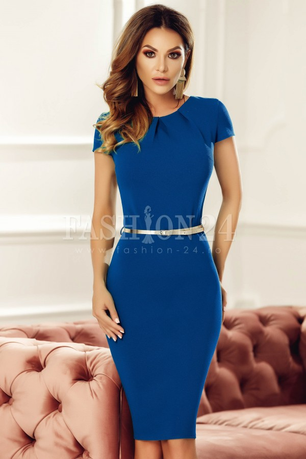 Rochie eleganta albastra cu accesoriu in talie