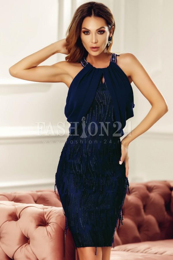 Rochie eleganta bleumarin cu voal si aplicatii