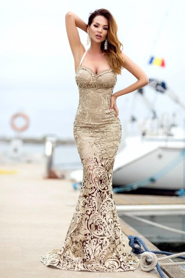Magazin Online Haine - Rochie Melany bej croi sirena -Fashion-4u.Eu