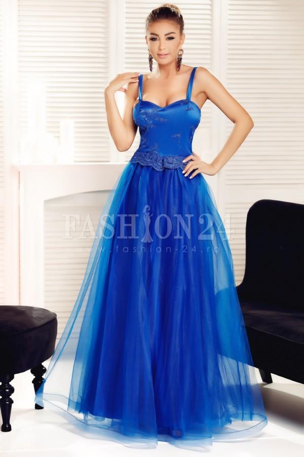 Rochie albastra cu tull de seara
