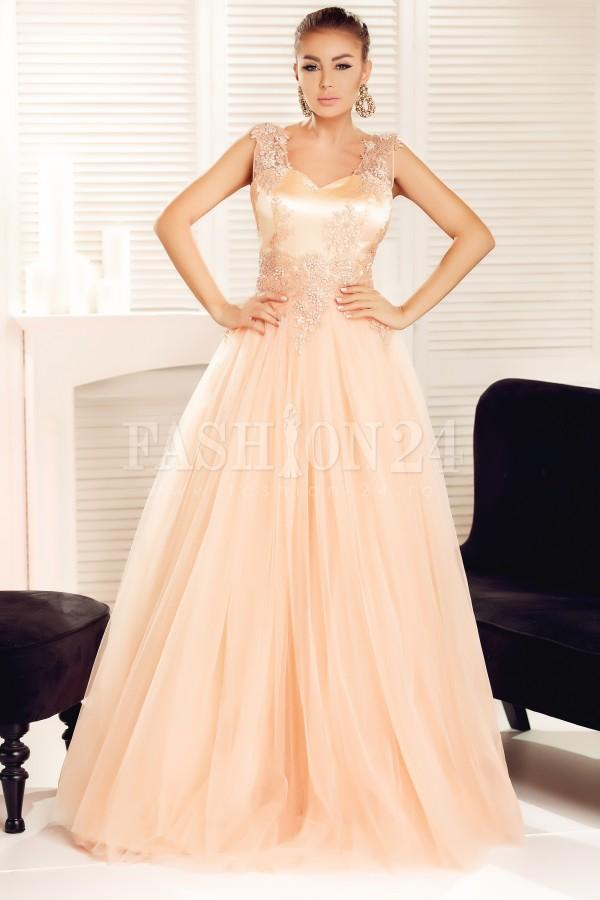 Rochie lunga Ariana piersica